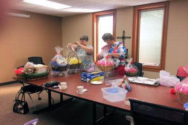 Making gift baskets for Cops and Firemen