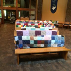 LWR quilts on the pews