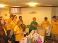Unloading the food at the food pantry