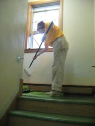 Painting the walls at the food pantry